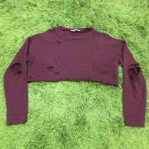 Meshki Distressed Cut Off Sweater Size S